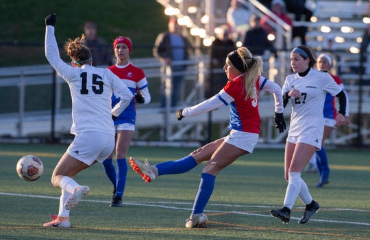 Wall Mackenzie Tranberg puts in winning goal in overtime. Wall Girls Soccer defeats Haddonfield 2-1 in overtime Group II State Semifinal in Wall, NJ on November 13, 2019.