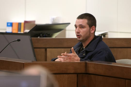 Joseph Matich of Keansburg, who was a passenger in a car involved in the accident, testifies during the trial of Alexandra Mansonet, who is charged with vehicular homicide for allegedly texting and driving, before Superior Court Judge David F. Bauman at Monmouth County Courthouse in Freehold, NJ Wednesday, November 13.