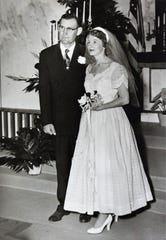 Robert and Jera (Lord) Stephan on their wedding day, marrying at Zion Lutheran Church when it was at North 10th and Cypress streets.