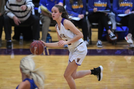 Wylie's Karis Christian (12) looks up as she dribbles against Wolfforth Frenship. It was Christian's first basketball game after finishing the volleyball season in the second round of the playoffs three days earlier.