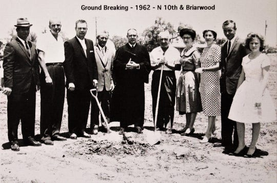 Groundbreaking for Zion Lutheran Church in north Abilene. The congregation met there until moving about 20 years to its current location on Antilley Road.