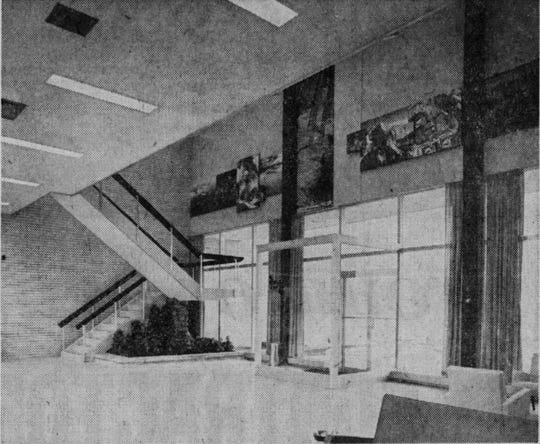 A view of the lobby/reception area of the new Ansco building in 1960.