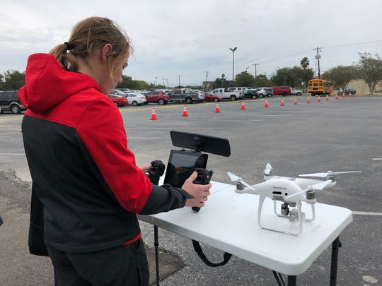 Kai Meyer, a freshman at Ray High School, flies a drone at Del Mar College's Center for Economic Development during Coastal Bend GIS Day on Wednesday, Nov. 13, 2019. The event showcased geographic information technology and careers that use that technology.
