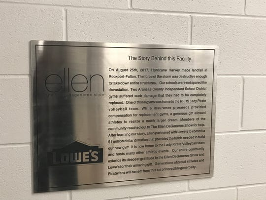 Plaque inside Rockport-Fulton's new gym detailing the $1.5 million donation made by the Ellen DeGeneres Show and Lowe's.