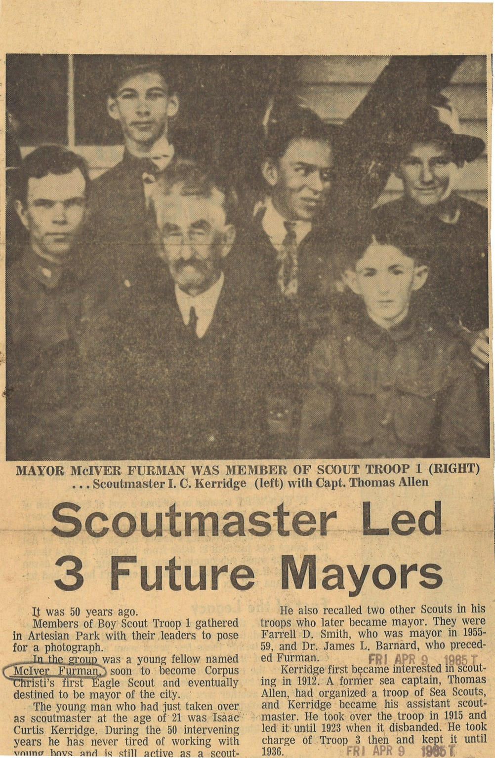 In this April 9, 1965 Caller-Times clipping, McIver Furman (far right, wearing hat) is pictured with other Corpus Christi Boy Scout members in a 1915 snapshot. Others identified in the photo are Asst. Scoutmaster I.C. Kerridge (left) and Capt. Thomas Allen (front row, center).
