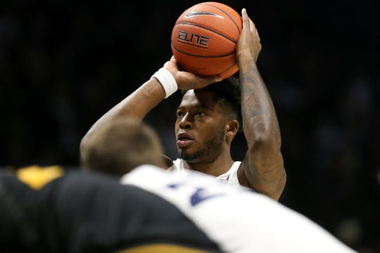 Xavier Musketeers forward Tyrique Jones (4) shoots free throws in overtime of a college basketball game, Tuesday, Nov. 12, 2019, at Cintas Center in Cincinnati. Xavier Musketeers won 63-58.