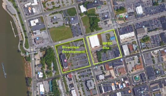 A Google Maps satellite image of downtown showing the sites for the planned Riverview development and the planned Multi-Purpose Event Center.