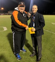 Linden High School girls soccer coach Wayne Mehalick at his final game, alongside Linden Athletic Director Steven Viana.