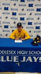 Middlesex's Jared Zimbardo signs his National Letter of Intent to continue his baseball career at Quinnipiac University on Wednesday, Nov. 13, 2019.