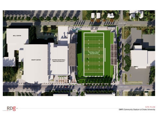 Drake University and Des Moines Public Schools plan to construct a shared football and soccer stadium on Forest Avenue