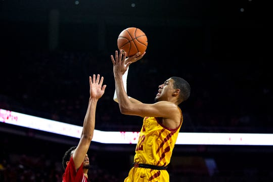 Iowa State's Tyrese Haliburton shoots the ball during the Iowa State men's basketball game against Northern Illinois on Tuesday, Nov. 12, 2019, at Hilton Coliseum in Ames.
