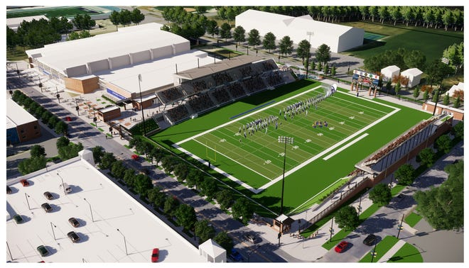 Drake University and Des Moines Public Schools plan to build a $19.5 million stadium immediately east of the Knapp Center and Shivers Basketball Practice Facility on the north side of Forest Avenue.