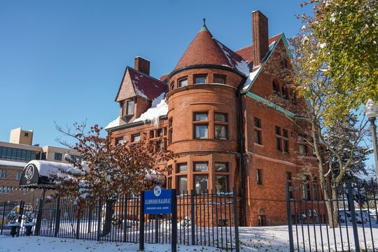 One of Detroit's oldest surviving French Renaissance buildings, the Bagley Mansion has a wide tower that creates three floors of rounded rooms. It's at the north end of Rivertown, where the Dequindre Cut, the Detroit Riverwalk and the coming Joseph Compeau Greenway connect the Rivertown community.