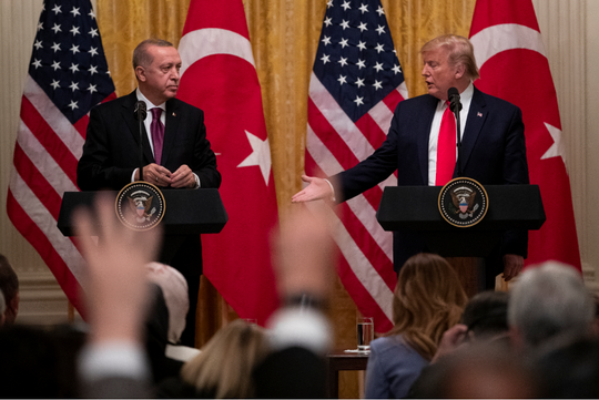 President Donald Trump shakes hands with Turkish President Recep Tayyip Erdogan during a news conference in the East Room of the White House, Wednesday, Nov. 13, 2019, in Washington.