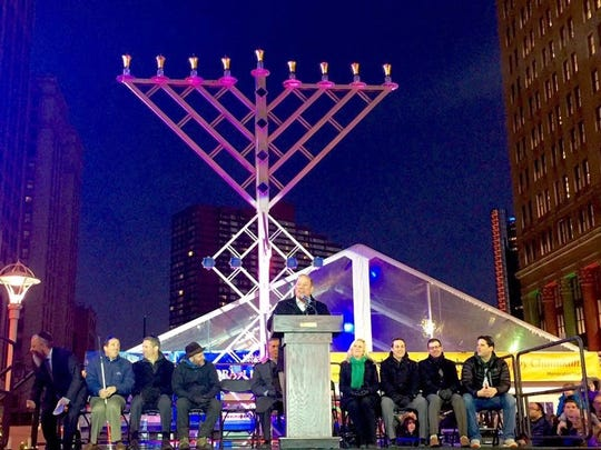 Sen. Jeremy Moss said this photo showed what a larger menorah could look like. The photo was taken during Detroit's Menorah in the D event.