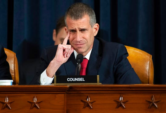 Republican staff attorney Steve Castor questions top U.S. diplomat in Ukraine William Taylor, and career Foreign Service officer George Kent, at a House Intelligence Committee hearing.