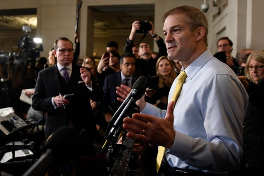 Rep. Jim Jordan, R-Ohio, speaks to reporters after the hearing with top U.S. diplomat in Ukraine William Taylor, and career Foreign Service officer George Kent, at the House Intelligence Committee ended on Capitol Hill in Washington, Wednesday, Nov. 13, 2019.