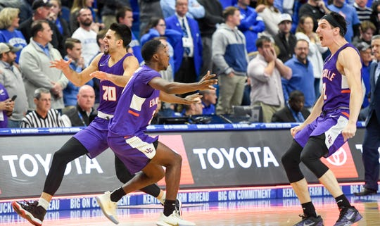 The Aces realize the have won as the University of Evansville Purple Aces play the number one ranked Kentucky Wildcats at Rupp Arena in Lexington Tuesday evening, November 12, 2019.