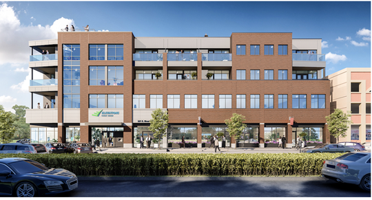 A rendering of the new Elevations Credit Union building and The Front Row on Mountain Avenue condos at 221 E. Mountain Ave., next to the city's parking garage.