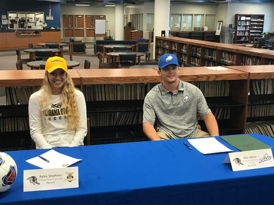 Ida Baker seniors Rylee Stoehner (soccer, Alabama State) and Mac Moise (baseball, FGCU) will continue their careers at the next level after signing their letters of intent Wednesday.