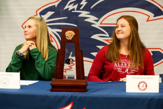 Estero softball players Alex Salter (Alabama) and Lauren Hobbs (Stetson) are officially signed with their Division I schools Wednesday afternoon, November 13, 2019.