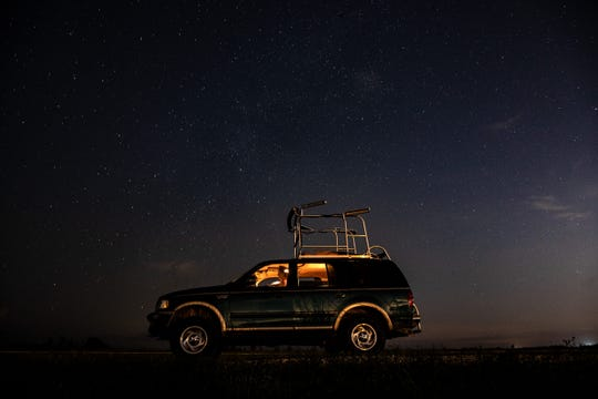 A moonless night offers an other-worldly view of the starry sky in the Everglades west of Miami on Monday, October 28, 2019.