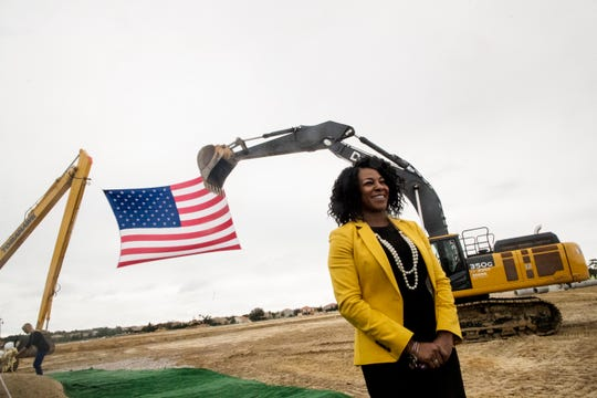 Gateway High School principal Neketa Watson  participated in the groundbreaking ceremony at the new school on Wednesday, Nov, 13, 2019.