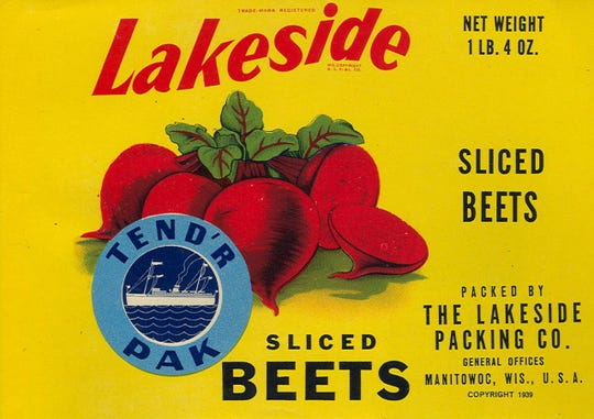 A 1930s Lakeside Foods can label. Eventually the Lakeside brands disappeared as the company switched to provide private label packaging.