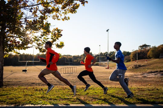 The Southside High School cross country team during their workout Wednesday, November 13, 2019 as they prepare for their state meet Saturday, in Camden.