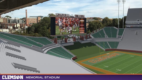 Renderings of the planned upgrades to the east end zone of Clemson Memorial Stadium