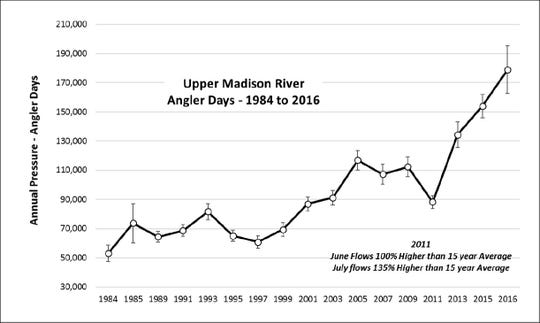Growth in angler days on the Madison River since 1984
