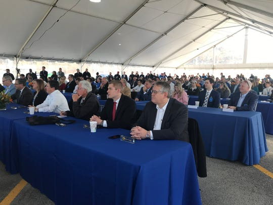 Guests listen to speeches at the Nov. 13, 2019, groundbreaking for Volkswagen's electric vehicle plant in Chattanooga. The expansion is expected to create 1,000 jobs and begin production in 2022.