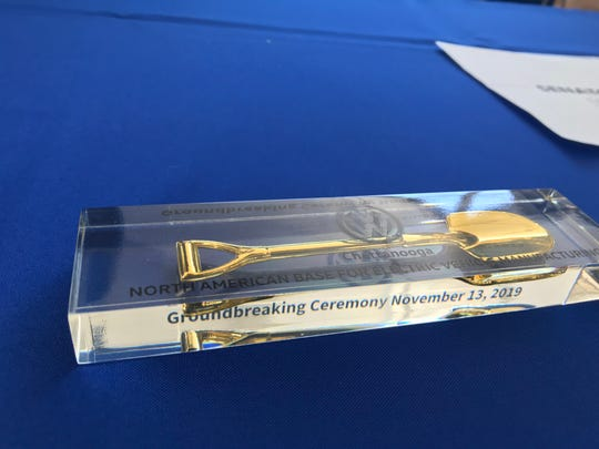 A commemorative paperweight for guests at the groundbreaking for Volkswagen's electric vehicle plant in Chattanooga, Nov. 13, 2019.