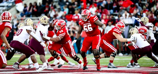 Fifth-year senior offensive lineman Rico Robinson (66) works at left tackle for UL during its win over Texas State earlier this month at Cajun Field.