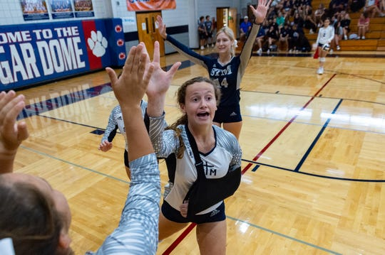 Gabby Brabner as Teurlings Catholic takes on St Thomas More Volleyball. Sept. 3, 2019.