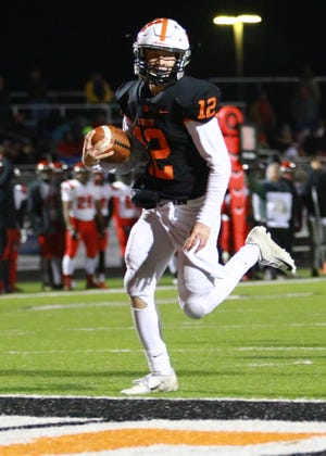 Quarterback Colby Newburg will lead Brighton into a third-round football playoff matchup against Hudsonville Friday night.