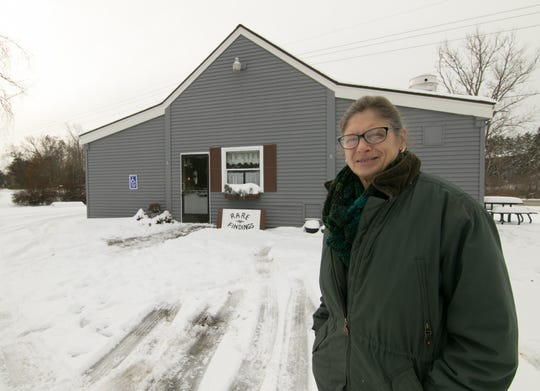 Pam Thomas, owner of the building at the corner of Chilson and Brighton roads in Genoa Township, shown Wednesday, Nov. 13, 2019, looks forward to opening Rare Findings, an antique and art shop.