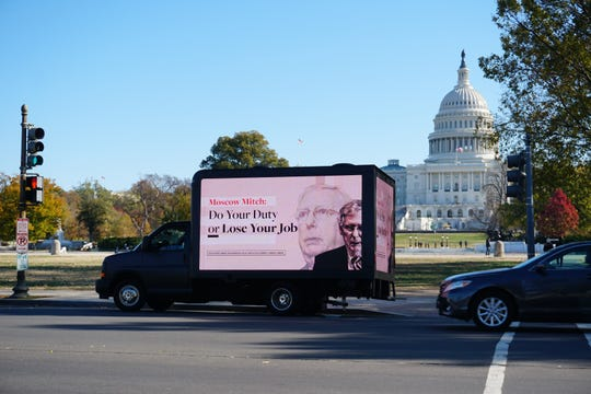 A new mobile billboard from Need to Impeach targets Senate Majority Leader Mitch McConnell, R-Ky., over Donald Trump's impeachment and started appearing Wednesday, Nov. 13, 2019, around Washington, D.C.