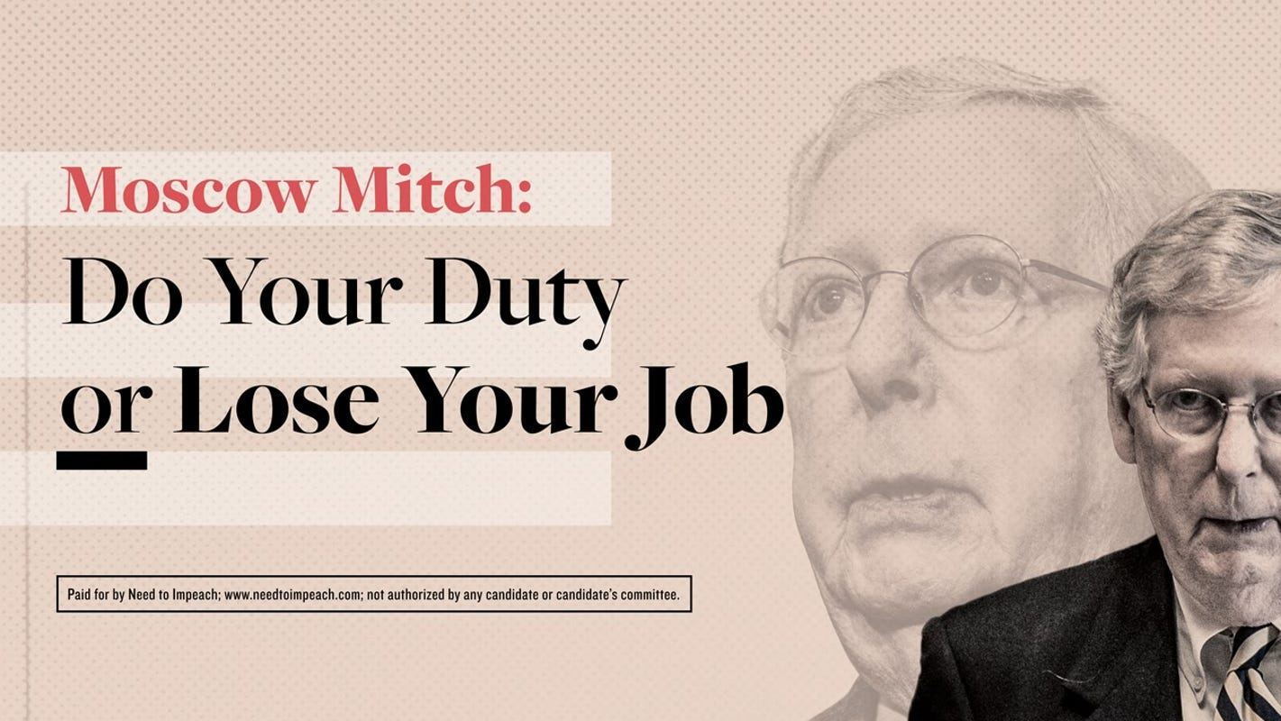 Billboard warns 'Moscow Mitch' McConnell: Impeach Trump or 'lose your job'
