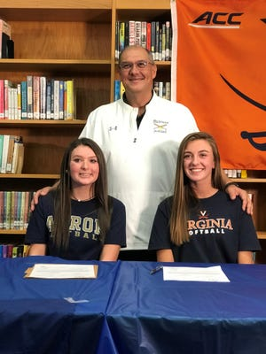 Madison head softball coach Tim Niswander (back) feels for his seniors like Sloan Kiser (left) and Leah Boggs (right) as their final softball season ends up in limbo.