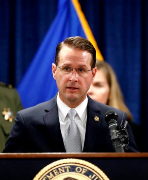 D. Michael Dunavant, U.S. Attorney for the Western District of Tennessee speaks at the Clifford Davis-Odell Horton Federal Building in Memphis Nov. 13, 2019 to announce the launch of Project Guardian, a nationwide effort to reduce gun violence.