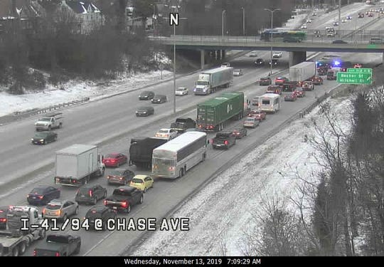 Traffic is backed up on I-94 northbound at Holt Ave. after a semi crashed into an overpass.