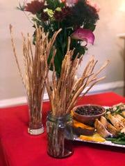 Rosemary, Lemon & Thyme Skinny Breadsticks are a crunchy meal starter.