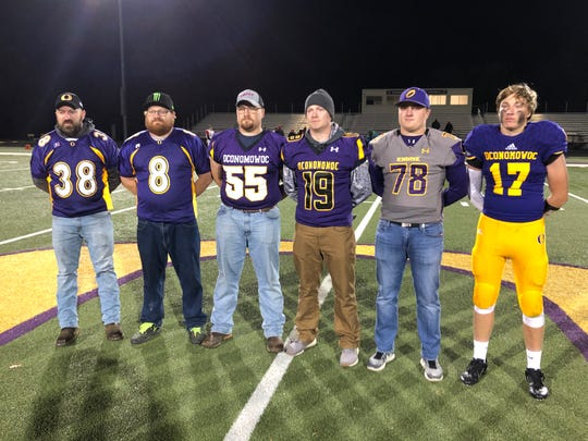 From 2001 to 2019, all six of the Brockway brothers played football at Oconomowoc High School. Pictured from left, Gregory, Mitchell, Ethan, Lukas, Adam and Logan.