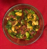 Kimchi and gochujang sauce add a flavorful kick to this brussels sprouts and bacon side dish.