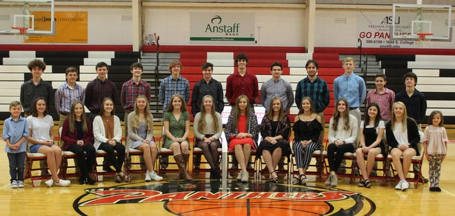 Norfork High School will host its 2019 Homecoming Ceremony at 5 p.m. Friday at Bobby D. Hulse Gymnasium in Norfork. The king and queen will be crowned during Homecoming festivities beginning at 5 p.m., The Homecoming game against the Western Grove Warriors. Members of the 2019 Homecoming Court are: (from left)Crown bearer Conner Hughes;freshman maid Carlee Welch and escort Dillon Hall; freshman maid Janoah Douglas and escort Dallas Forman;freshman maid Maddi McGowan and escort Jacob Alexander;sophomore maid Amber Weber and escort Blythe Stapleton;junior maid Aeja McFall and escort Dawson Gray;senior maid Jessica Weber and escort Tyler Sorters;senior maid Mackynzie Rangel and escort Ty Rosson;senior maid Micah Dwyer and escort Paul Oberdoerfer;junior maid Aaliyah Manes and escort Landon Byrd; eighth-grade maid Liza Shaddy and escort Will Martin; eighth-grade maid Hollyn Bradbury and escort Caleb McGowan; seventh-grademaid Kaylynn Chapman and escort Ethan Chapman; and crown bearer Mya Beavers.