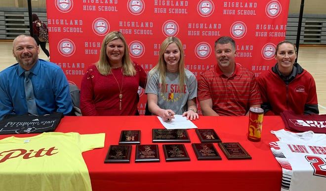 Highland's Abby Dietsche, a former Mountain Home Lady Bomber, signed her National Letter of Intent on Wednesday to play college basketball at Pittsburg State in Pittsburg, Kansas. Pictured with Dietsche (middle) are: (from left) Highland assistant coach Jason Stephens, her mother Tracy Donahue, her father Jeremy Dietsche, and Highland head coach Carrie Eoff.