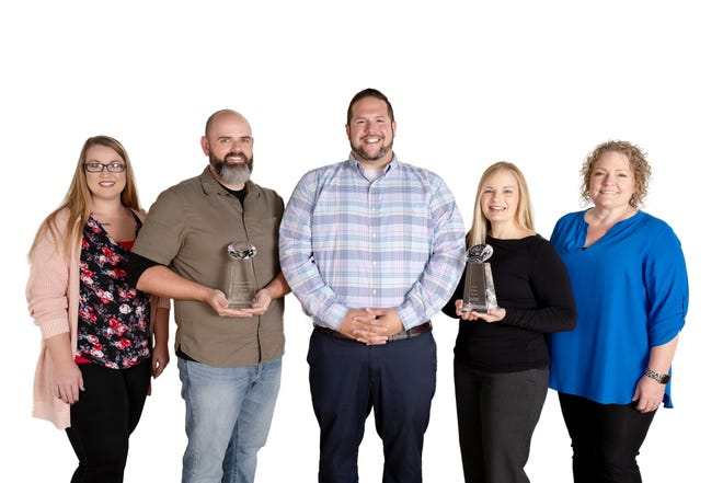 The Baxter Regional Marketing team partnered with Moore Visuals and Wheelhouse Design to produce several award-winning projects. Pictured are: (from left) Brittany Honey, Marketing Specialist, Baxter Regional Medical Center; James Moore, Owner and Videographer, Moore Visuals; Tobias Pugsley, Director of Marketing, Baxter Regional Medical Center; Sarah Knight, Owner, Wheelhouse Design; and Adrienne Koehn, Graphic Designer, Baxter Regional Medical Center.