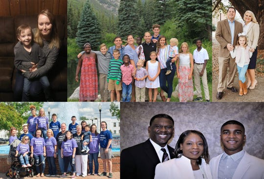 Clockwise from top left, the Bells, Tormeys, Johnsons, Durhams and Harmans were named Families of the Year by the Family Guidance Center of Alabama.
