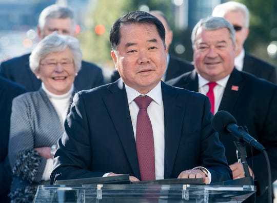 Hyundai Motor Manufacturing Alabama President Byungjin Jin backed by Governor Kay Ivey and Greg Canfield, Alabama Secretary of Commerce, as they announce that the Hyundai compact Santa Cruz pickup will be built in Montgomery, Ala., during a press conference at the State Capitol Building in Montgomery on Wednesday November 13, 2019.